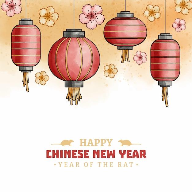 Concetto cinese di nuovo anno in acquerello Vettore gratuito