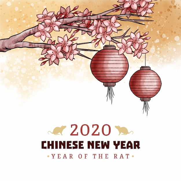 Chinese new year concept in watercolor Free Vector