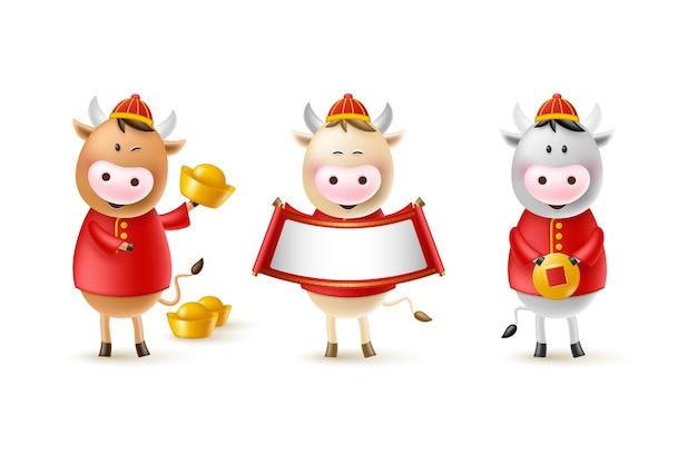 Китайский новый год милые быки. забавные персонажи в мультяшном стиле 3d. год зодиака быка. счастливые быки с золотой монетой, слитком и свитком. Premium векторы