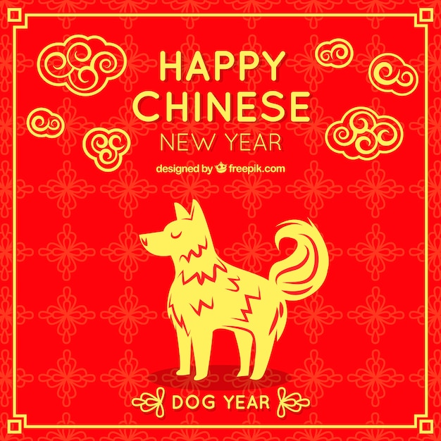 chinese new year design with golden dog free vector - Chinese New Year 1961