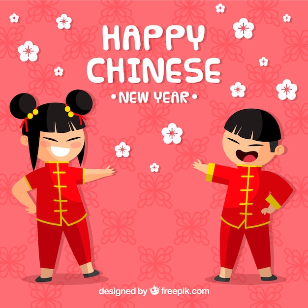 chinese new year design with kids free vector - Chinese New Year For Kids