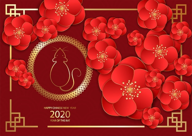 Chinese new year festive vector card design with rat, zodiac symbol of year 2020 Premium Vector