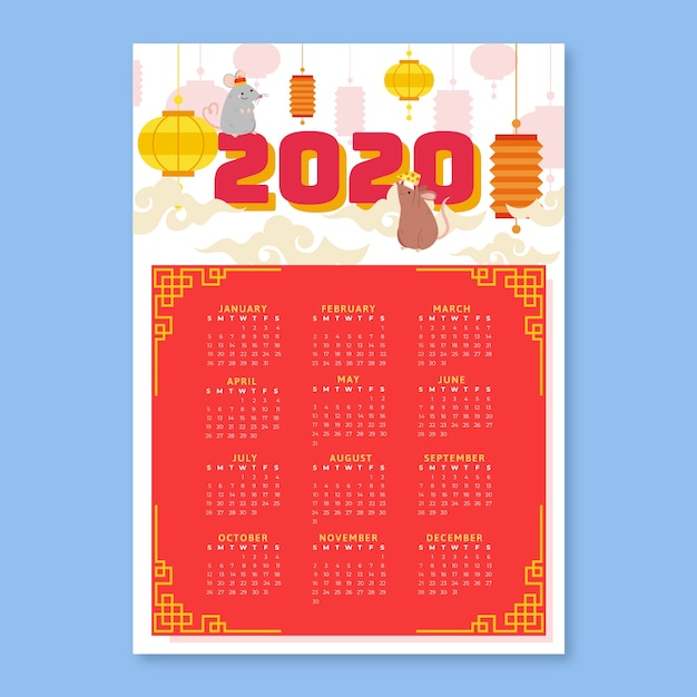Chinese new year flat design calendar Free Vector
