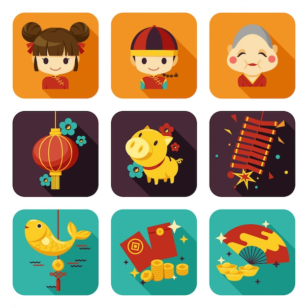 Chinese new year flat icon Premium Vector