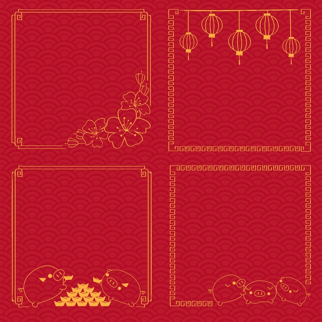 Chinese new year frame on traditional pattern background Premium Vector