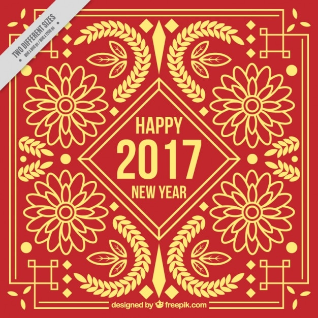 Chinese new year golden floral ornamental\ background