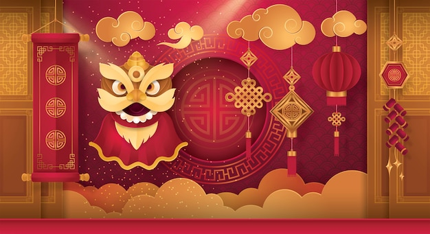 Chinese new year greeting card with frame bordor Premium Vector