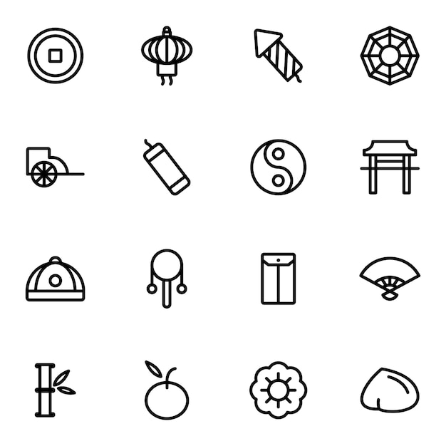 Chinese new year icon pack, outline icon style Premium Vector