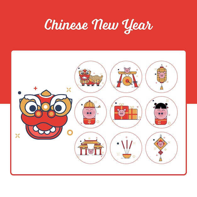 Chinese new year icons set with outline filled style Premium Vector