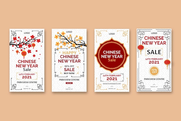 Chinese new year instagram stories Premium Vector