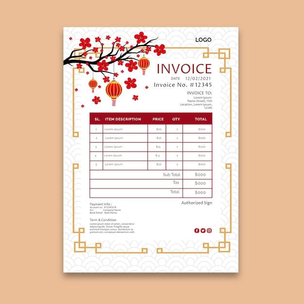 Premium Vector Chinese New Year Invoice Template