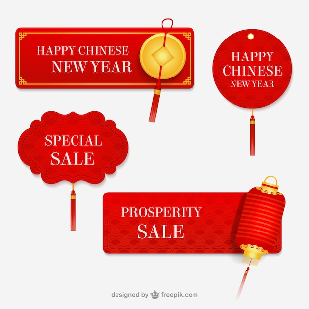 chinese new year labels free vector