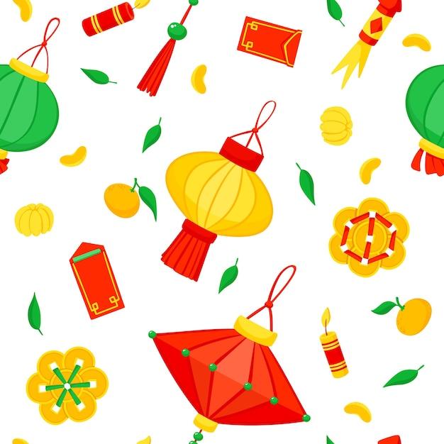 Китайский новый год. фонари и фейерверк бесшовные модели. Бесплатные векторы