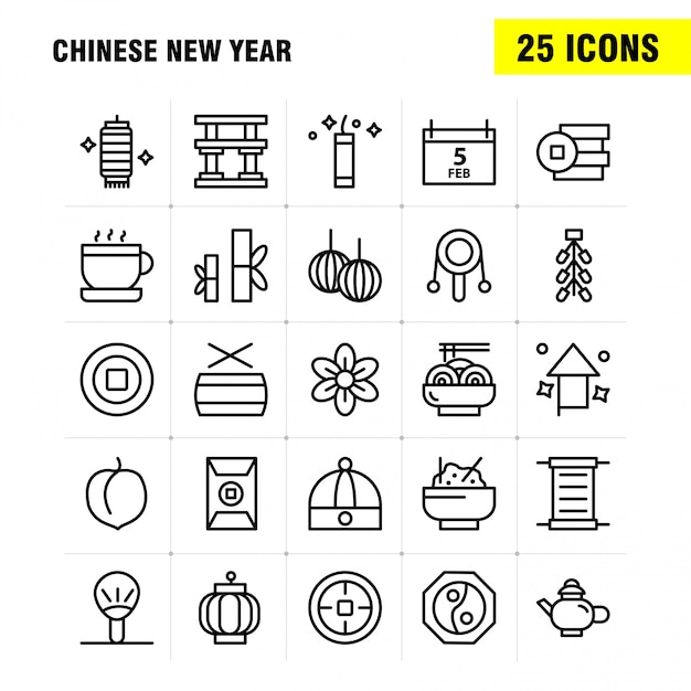 Chinese new year line icon pack Premium Vector