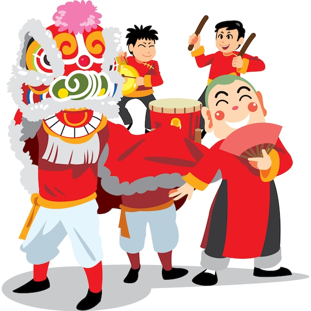 Chinese new year lion dance on white background, happy band in china traditional costume. Premium Vector