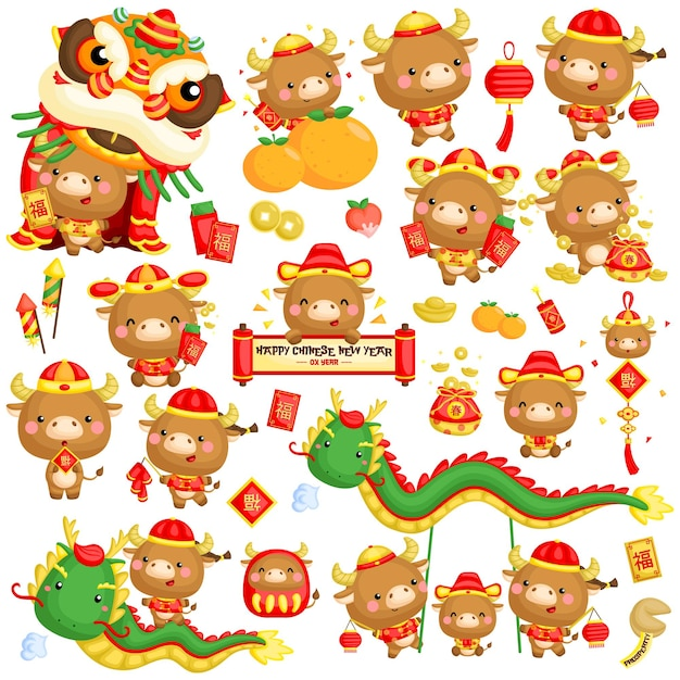 Chinese new year of ox year Free Vector