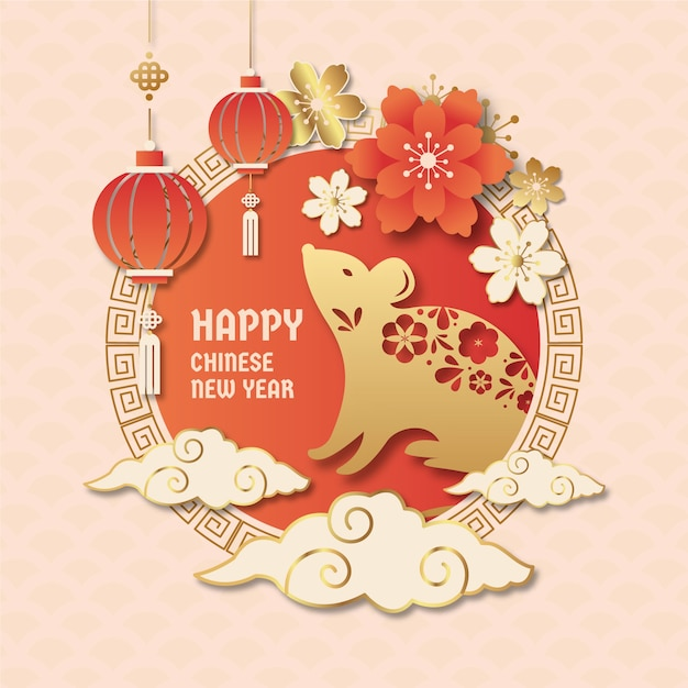 Chinese new year in paper style | Free Vector
