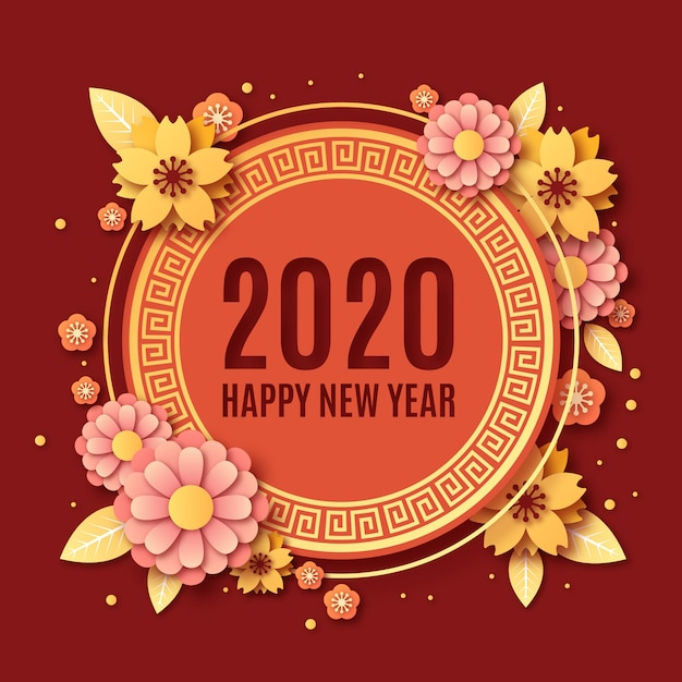 Chinese new year in paper style Free Vector