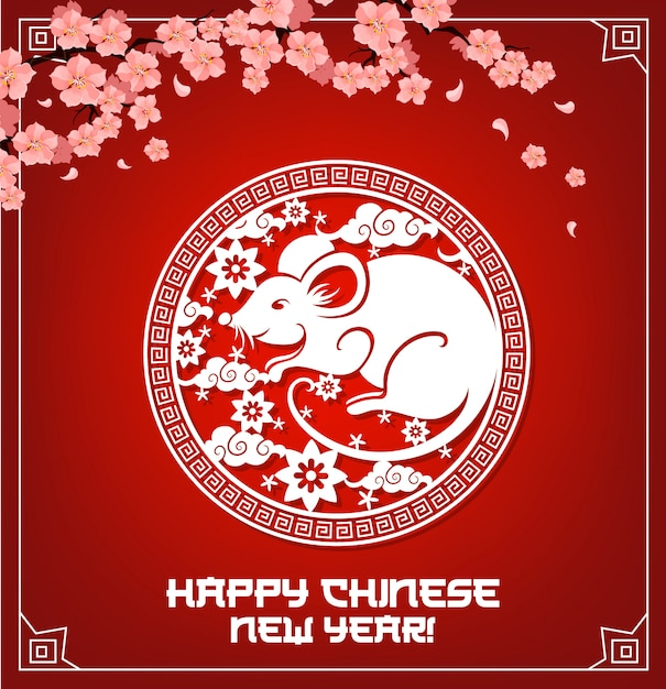 Chinese new year, rat sign and red cherry blossom Premium Vector
