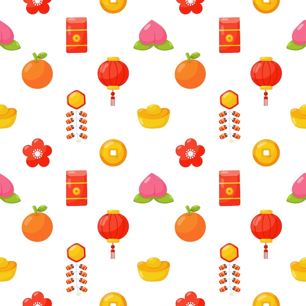 Chinese new year seamless pattern isolated . Premium Vector