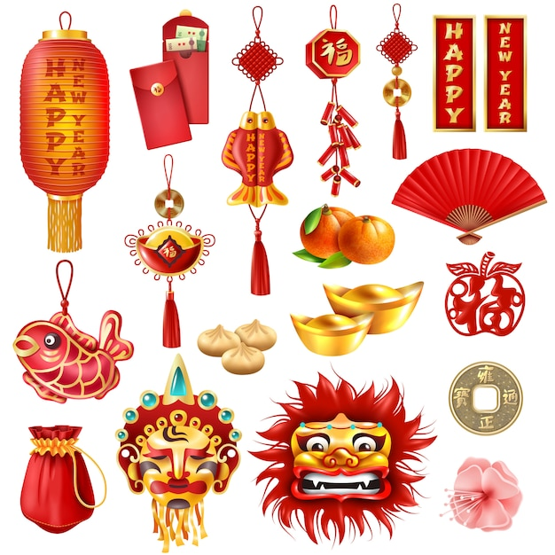 Chinese new year set Free Vector