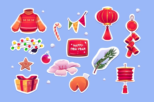 Chinese new year stickers with red lantern, sweater, pine tree and bells. cartoon icons set of traditional asian decoration, fortune cookies, garlands, gift box and candy cane Free Vector