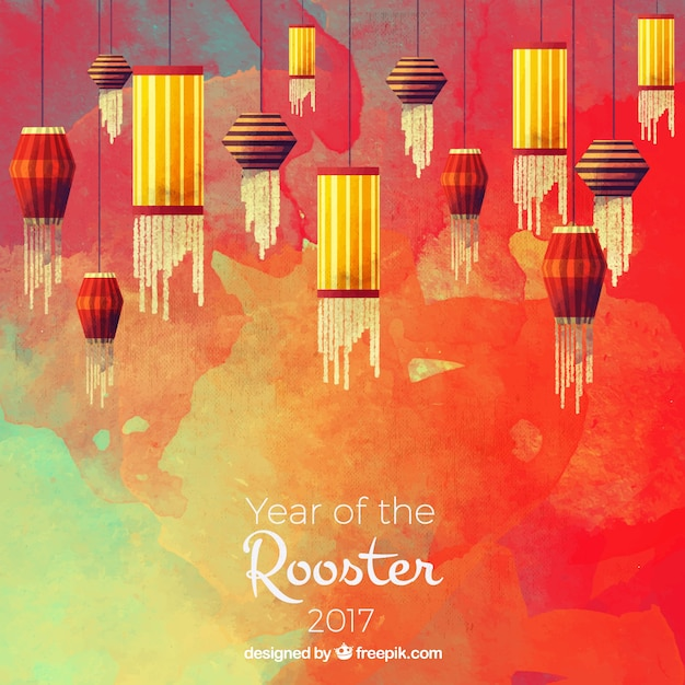 chinese new year watercolor background with decorative lanterns free vector