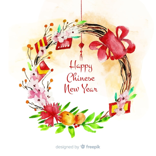 Chinese new year with flowers Free Vector