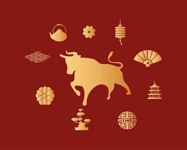 Китайский новый год с золотым быком и набор иконок Premium векторы
