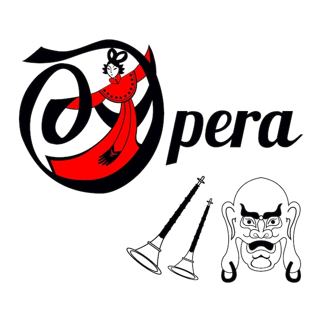 Chinese Opera Card With Mask And Instruments Premium Vector