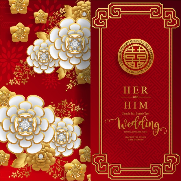 Premium Vector Chinese Oriental Wedding Invitation Card Templates With Beautiful Patterned On Paper Color Background