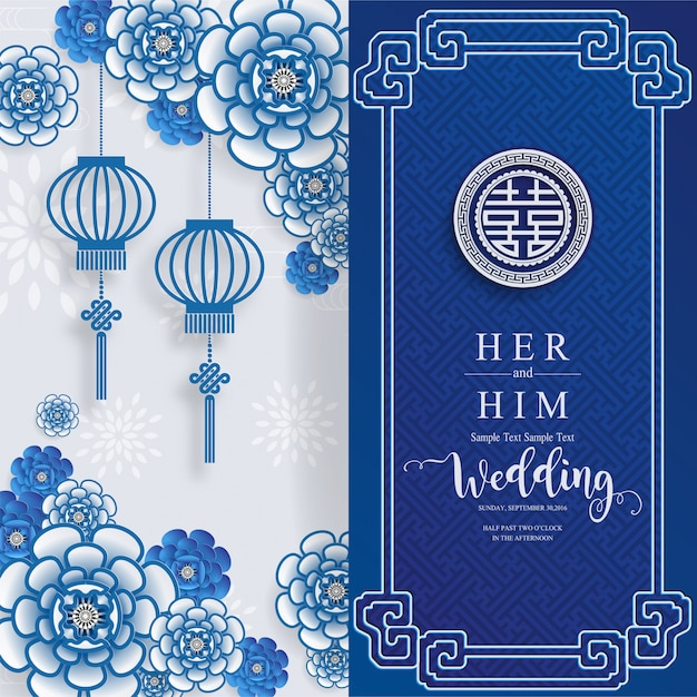 Chinese oriental wedding invitation card templates with beautiful patterned on paper color background. Premium Vector