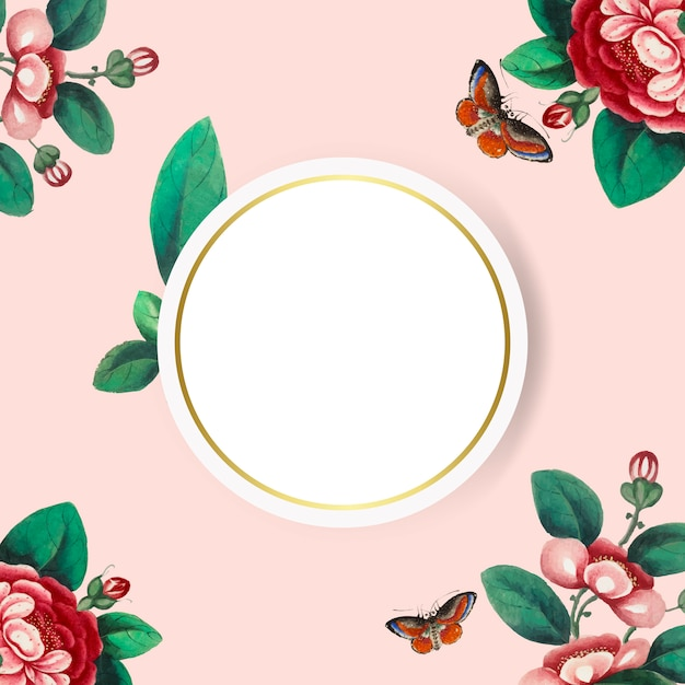 Chinese painting featuring flowers blank circle frame vector Free Vector