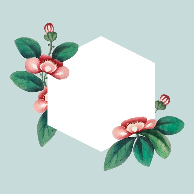 Chinese painting featuring flowers blank hexagon frame Free Vector