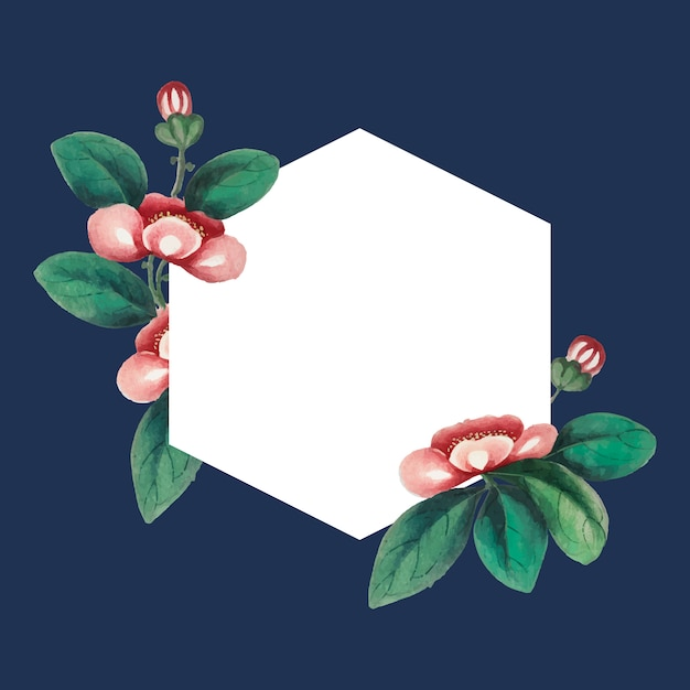 Chinese painting featuring flowers blank hexagon Free Vector