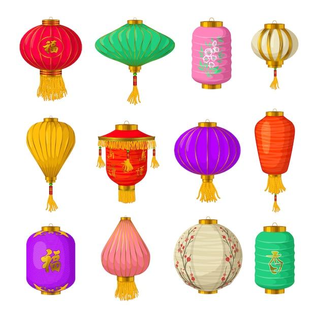 Chinese paper lanterns elements set, cartoon style Vector ...