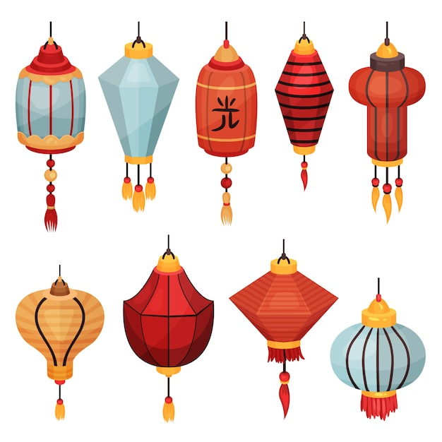 Chinese paper street lantern of different shapes and colors, decorative elements for festive   illustrations on a white background Premium Vector