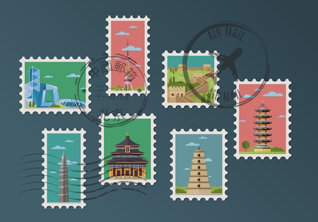 Chinese postage stamps and postmarks Premium Vector