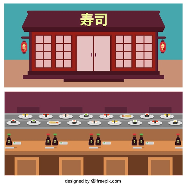 Chinese restaurant facade in flat design vector free