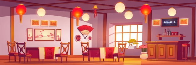 Chinese restaurant interior, empty cafe in traditional asian style with red and gold decor, lanterns, sakura pictures, cashier desk, cafeteria with wooden tables and chairs cartoon illustration Free Vector