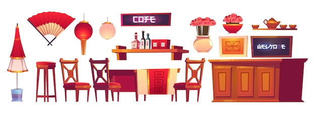 Chinese restaurant interior with wooden bar counter, chairs and table. Free Vector