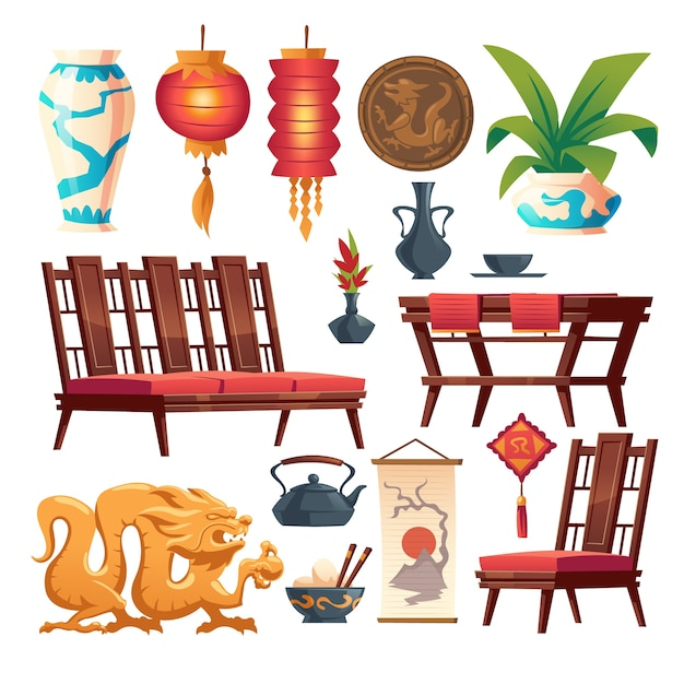 Chinese restaurant stuff isolated set. traditional asian cafe decor, red lantern, wooden table and chairs, vase and coin with dragon, rice in bowl with sticks, tea pot, cartoon illustration Free Vector