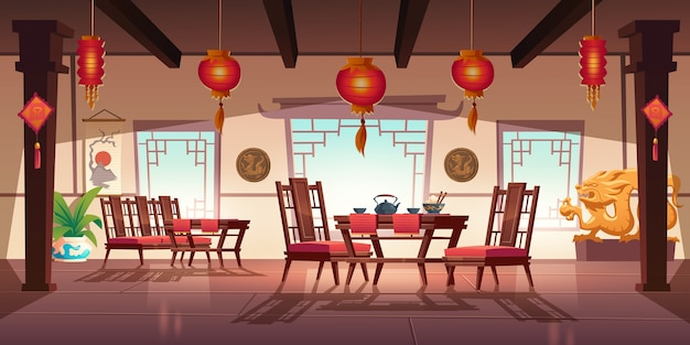 Chinese restaurant with food and tea on wooden table and chairs. cartoon interior of china cafe with traditional windows, red asian lanterns, flower and decoration with dragons Free Vector