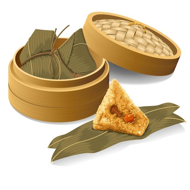 Китайский рис клецки, zongzi взять от парохода для праздник лодок-драконов Premium векторы
