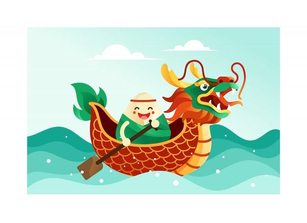 드래곤 보트 축제에서 중국 쌀만 두 프리미엄 벡터