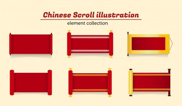 Chinese scroll illustration Premium Vector