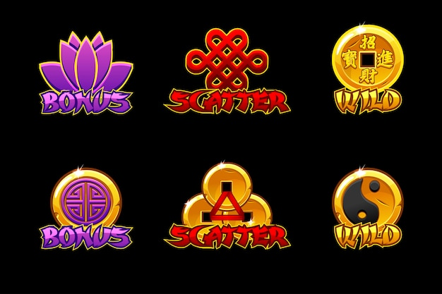 Premium Vector Chinese Slots Icons Icons Wild Bonus And Scatter For Game Slots Game Development