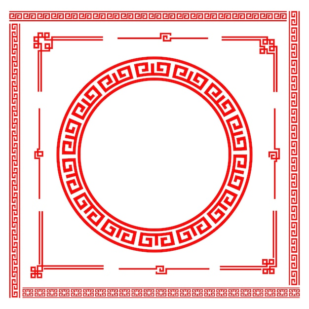 Chinese style art boarder frame element Premium Vector