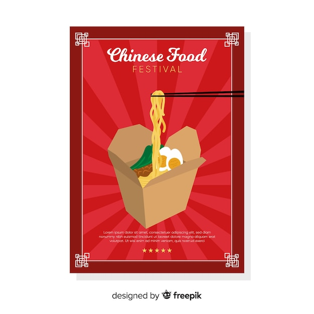 Chinese take away food flyer Free Vector