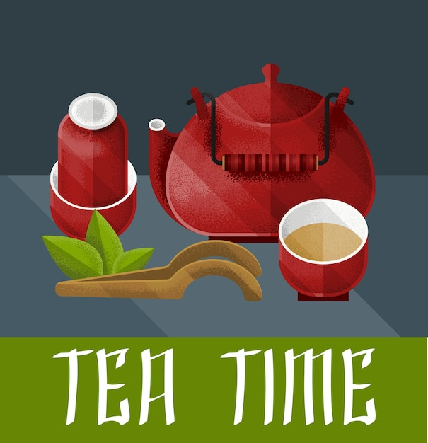 Chinese tea ceremony illustration with red kettle pair and pialat in vintage style Free Vector